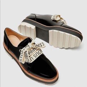 Zara Faux Patent Leather Brogues Platform Oxfords